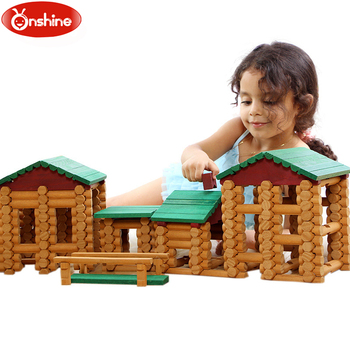 Onshine 382Pcs/set Primitive Tribe Log Cabin Building Blocks Gorgeousness Set Children Wooden Educational Building Blocks Toys