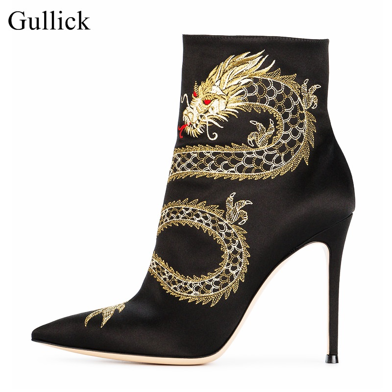 Fashion High Heel Boots for Woman Pointed Toe Gold Dargon Embroidery Ankle Boots Side Zipper Thin Heels Short Boots Free Ship 2016 new fashion ankle boots high quality leather metal zipper decorated pointed toe high thin heel basic boots for woman