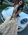 2016 Luxo Cristal Penas Prom Vestidos Sexy Branco de Alta Pescoço Da Sereia do baile de Finalistas Vestido de Penas de Moda Evening Partido Prom Vestidos