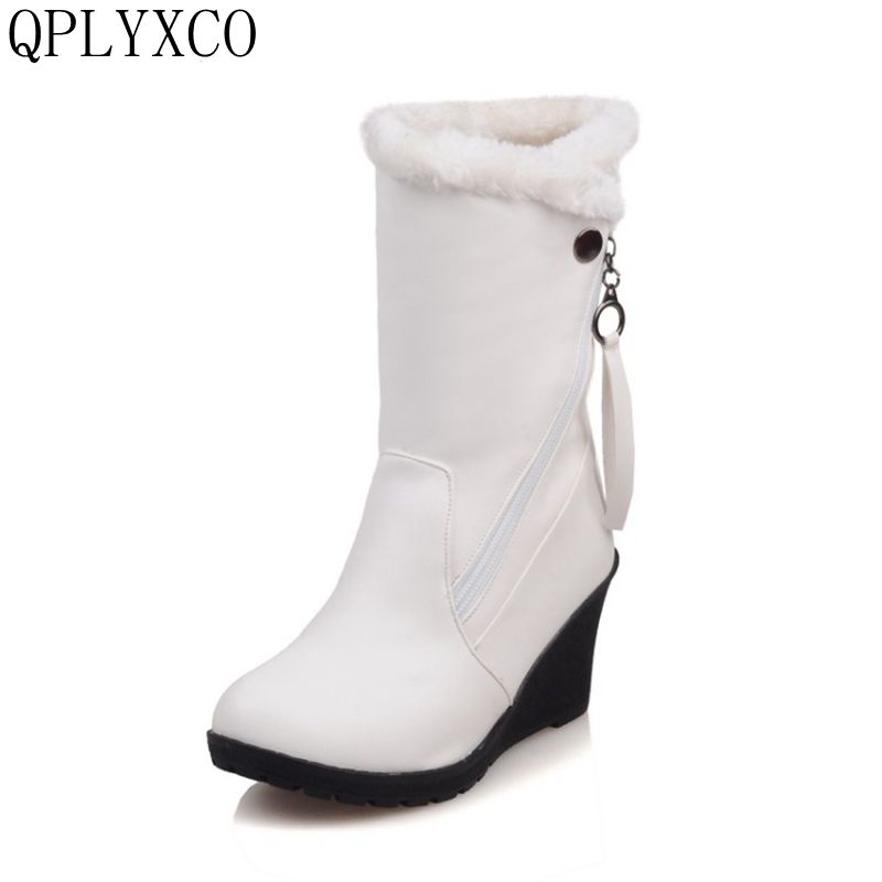 QPLYXCO 2017 New sale Big Size 30-52 Women Winter Warm Snow Boots Ladies Sweet Mid Calf Botas Woman Round Toe Zipper Shoes 1573 2016 winter women short snow boots fashion suede round toe low heel shoes big size 30 52 ladies slip on mid calf tassel boots