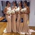 2016 Дешевые Платья Невесты Холтер Pleat Русалка Длинные Невесты Горничной Честь Платья Женщин Свадебная Вечеринка Платья