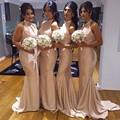 2016 Barato Da Dama de Honra Vestidos Halter Plissado Da Sereia Longa Noivas Vestidos de Dama de Honra Vestidos de Festa de Casamento Das Mulheres