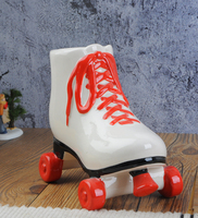 Ceramic creative piggy bank red skating shoes ceramic piggy bank gift European style animal props dies
