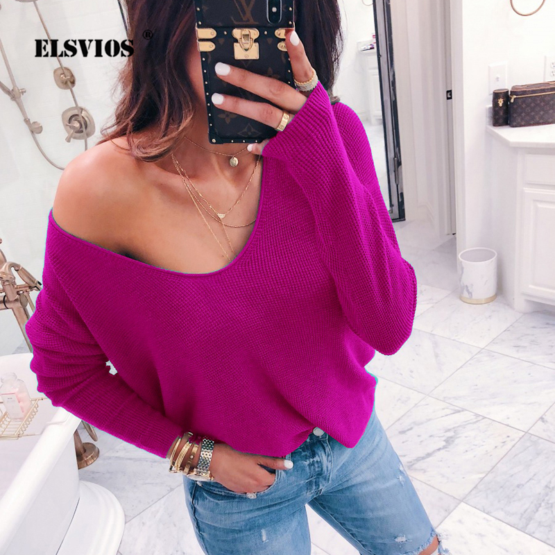 ELSVIOS 2018 Sexy Off Shoulder Ribbed Knitted Pullover Female V-neck Long Sleeve Sweater Fashion Autumn Winter Jumper Women Tops