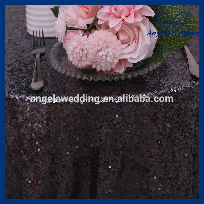 SQ025C New Nice Dark Grey Charcoal Sequin Table Cloth