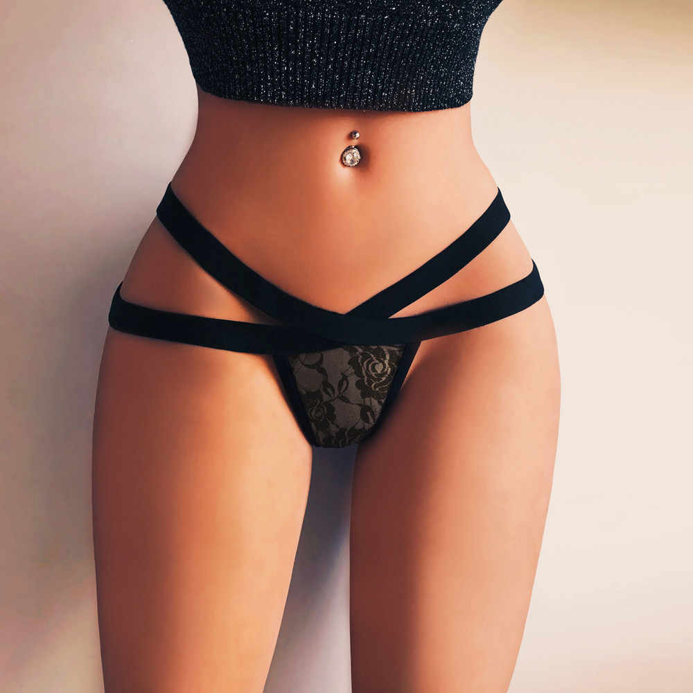 Tangas y tangas para mujer, lencería negra de encaje con bandas de malla, ropa interior de talla grande Sexy para mujer