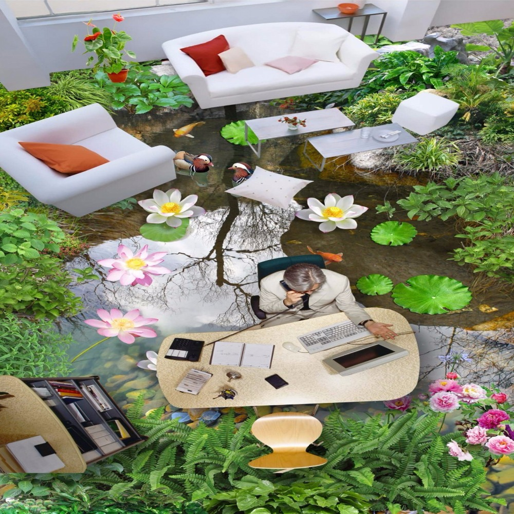 Free Shipping Pool Hawthorn creek water 3D landscape flooring painting waterproof PVC floor wallpaper mural