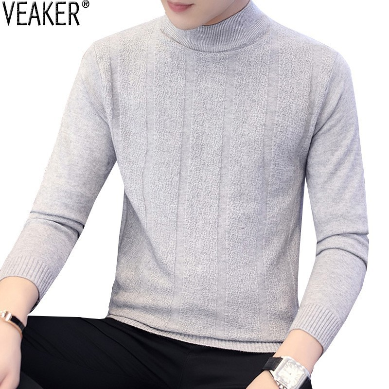 2019 Autumn New Men's Turtleneck Sweater Knitwear Male Casual High Neck Srtiped Sweaters Gray Knitted Pullover Sweater 3XL