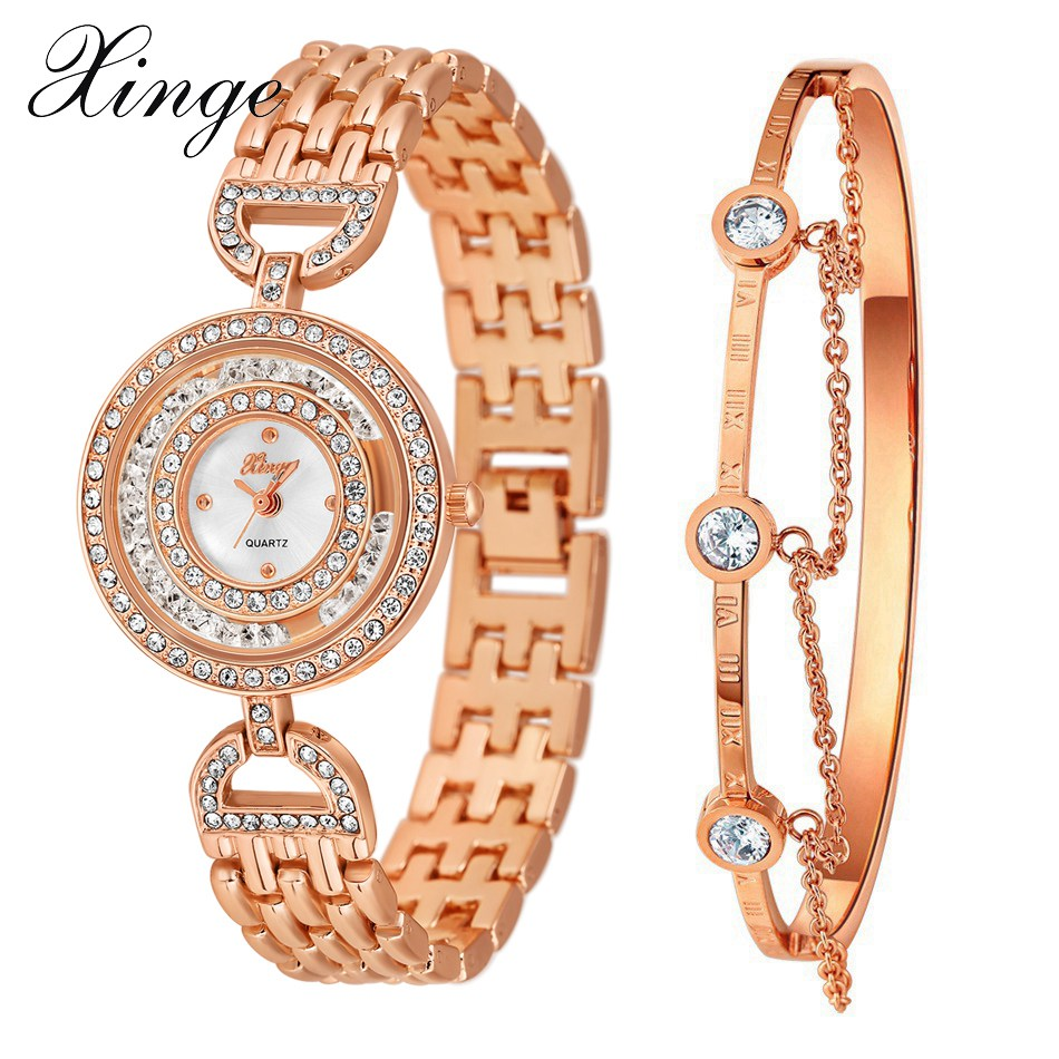 Xinge Brand Luxury Women Dress Rose Gold Bracelet Watch Set Jewelry Bangle Ladies Casual Quartz Wristwatch xinge brand watch women bracelet rhinestone chain bangles jewelry watch set wristwatch waterproof ladies gold quartz watch