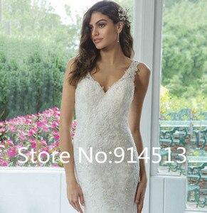 Image 4 - Vestido de Noiva Sexy V Neck Wedding Dress Mermaid Backless Lace Appliques Bride Dresses For Women Custom Made Bride Gown