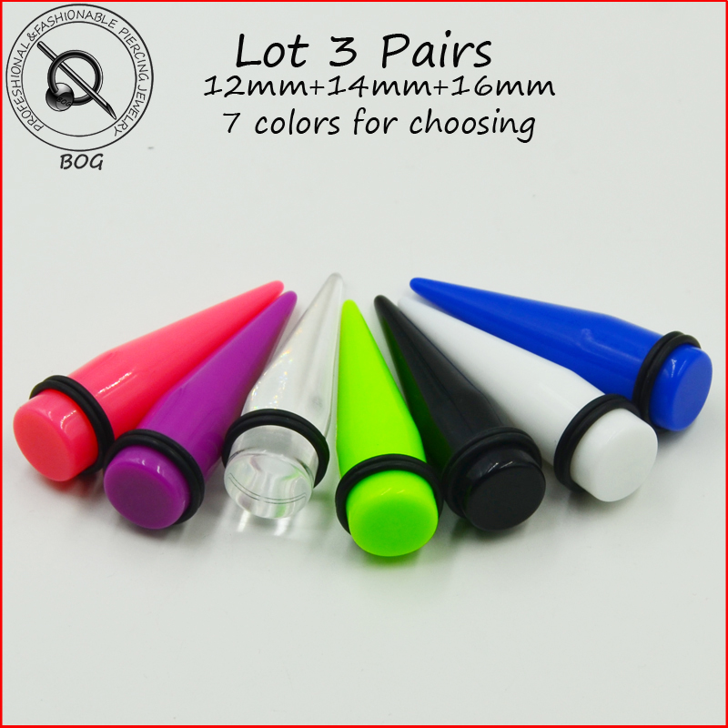 BOG-Lot 6 pieces Large Size Acrylic Ear Taper Stretcher Plug Gauges Piercing Earring Body Jewelry 12MM&14MM&16MM image