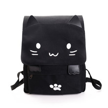 Милый Кот холст рюкзак мультфильм вышивка рюкзаки для девочек-подростков повседневная школьная сумка черно-белой печати рюкзак Mochilas