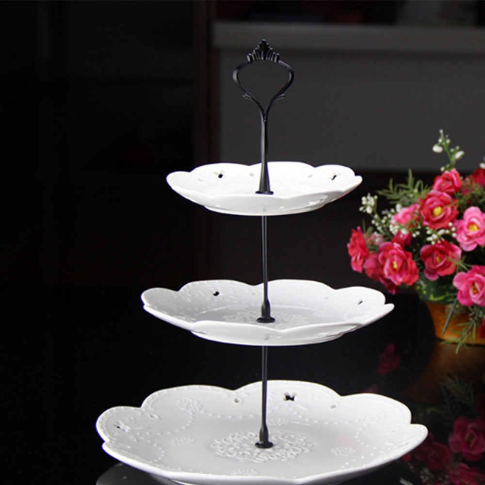 2/3 שכבות כתר עוגת צלחת Stand קינוחים מאפה מדף מחזיק הולם חתונה ללא צלחת עוגת כלים דקור
