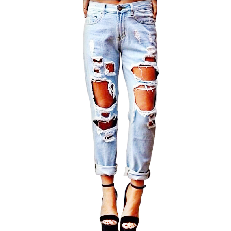 Women's Loose Distressed Boyfriend Style Hole Ripped Straight Jeans Ankle-Length Pants цена 2017