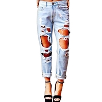 Women's Loose Distressed Boyfriend Style Hole Ripped Straight Jeans Ankle-Length Pants