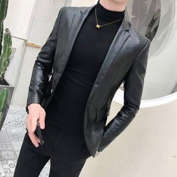 2019 Solid Black quality Slim Blazer PU Leather Jacket Men One Button Business Casual Prom Blazers For Men Korean Suit Coat 159