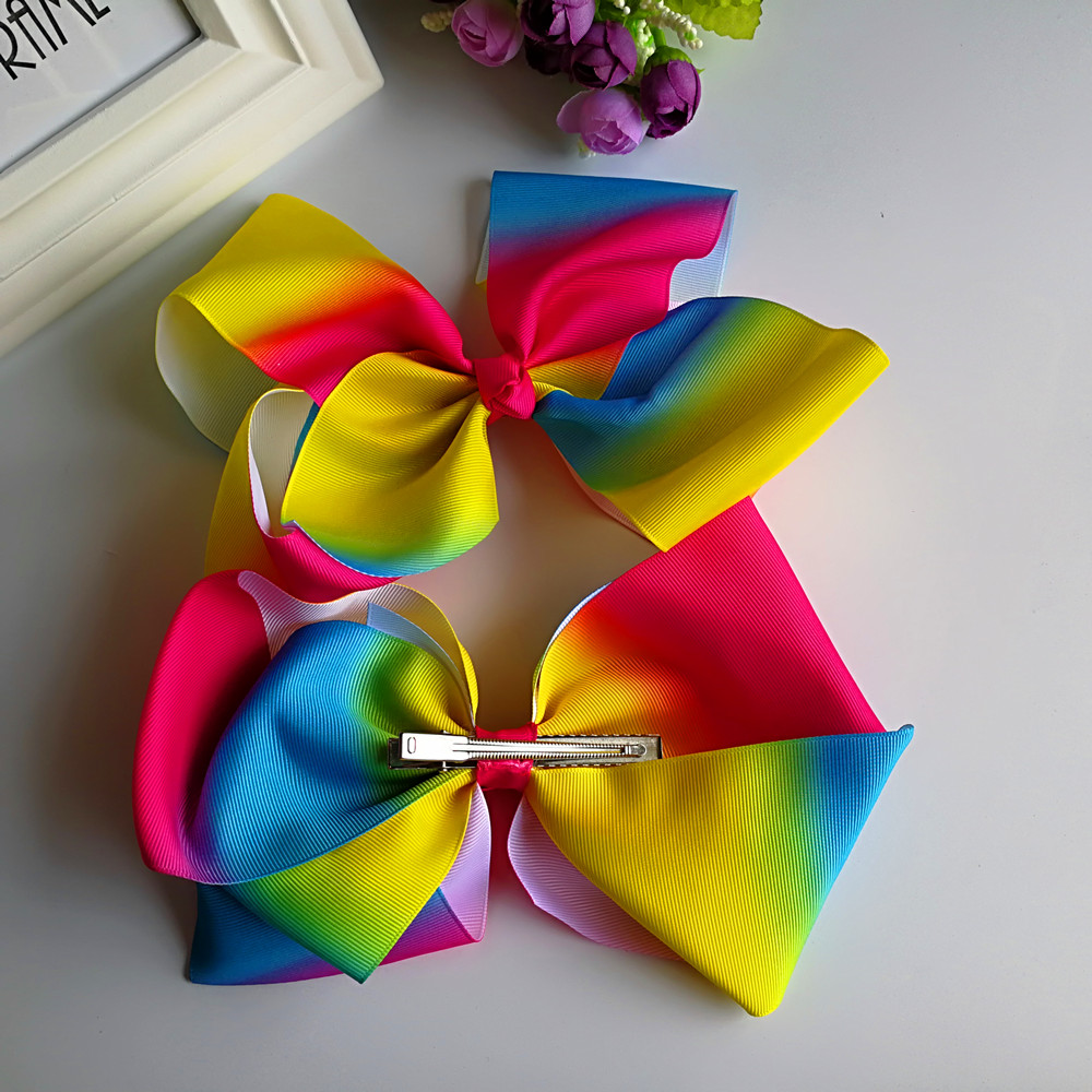 YUZEHD 20pcs/lot Little Girls Large Grosgrain Ribbon 8 JO JO Bows Boutique Rainbows Bows With Alligator Clips Hair Accessories