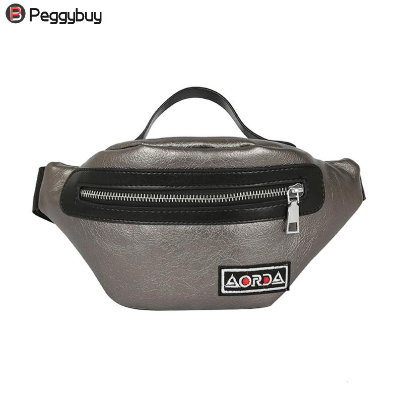 Solid Colors Women PU Leather Waist Pack Belt Bag Casual Unisex Messenger Chest Bag With Handle Label Fanny Pack Mochila Feminia