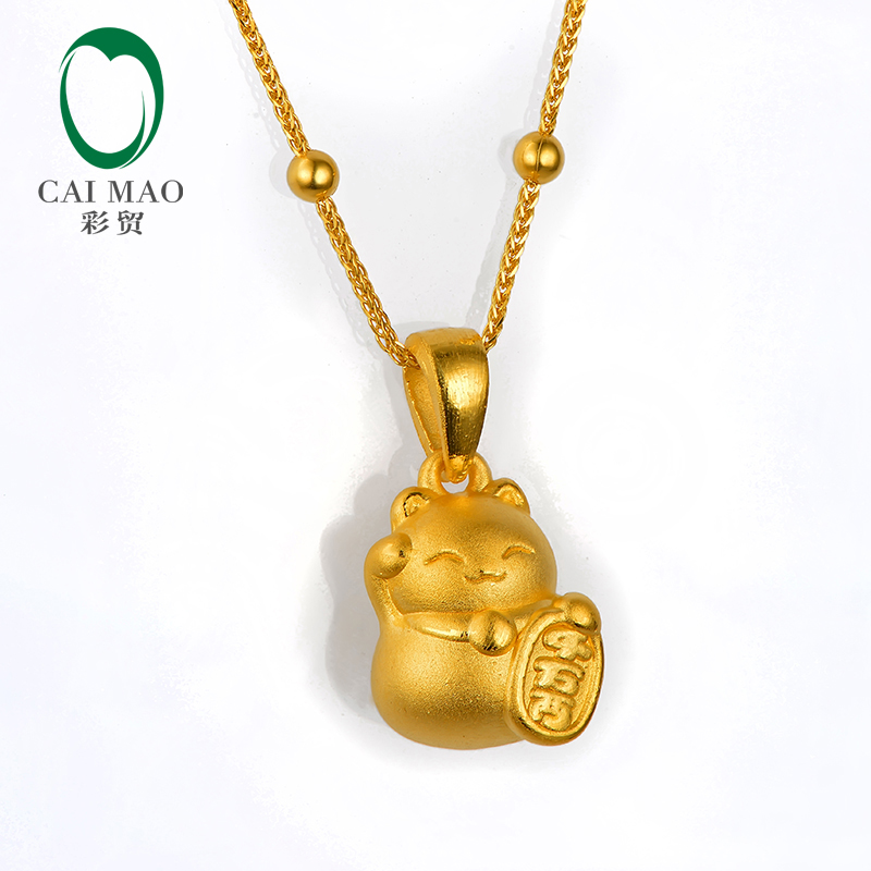 CAIMAO 24 K pur or jaune pendentif à breloque chat chanceux réel 999 3d dur processus or bijoux fins cadeau exquis