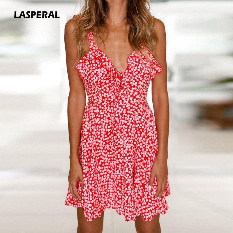33b81e4682c3 Summer Dresses Women 2018 Sexy Chiffon Deep V Neck Long Sleeve Polka Dot  Ruffle Mini Dress Beach ...