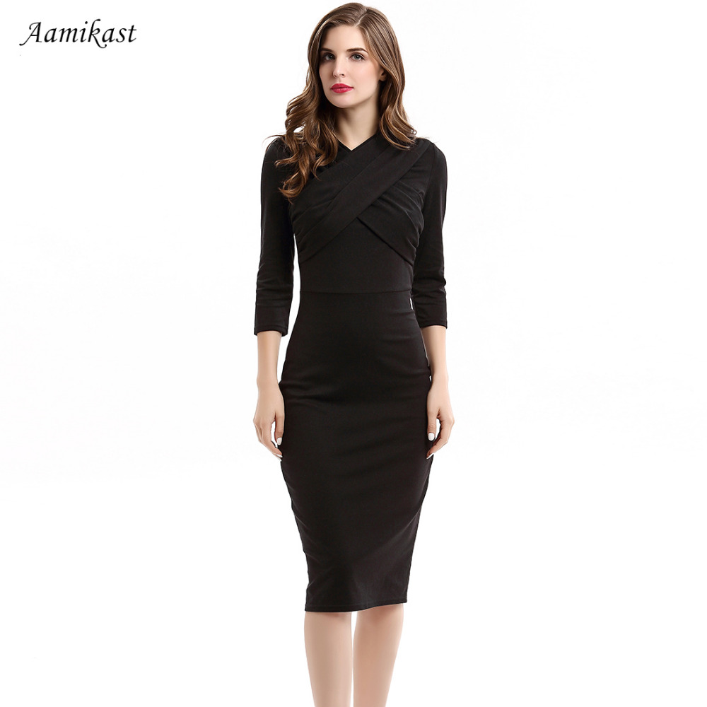 Black dress v neck 3 4 sleeves - Women Dresses New Fashion V Neck 3 4 Sleeve Sexy Vintage Party Business Pencil