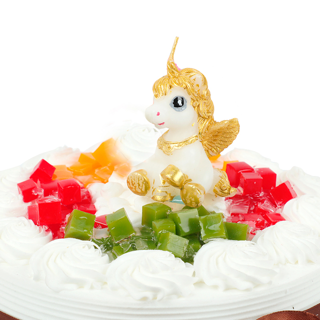 1PC 3D Unicorn Candle Mini Birthday Cake Candles Cupcake Topper Wedding Cute Kids Happy