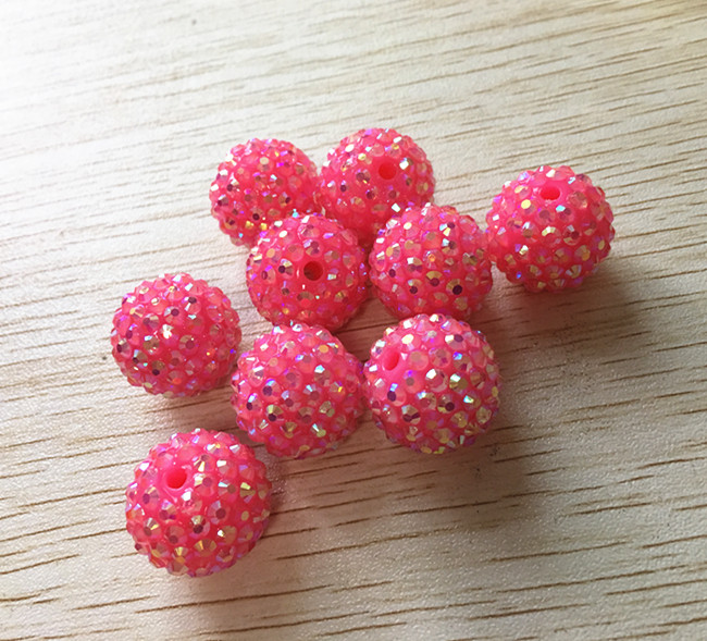 Reliable 20mm 100pcs/lot Hot Pink Color neon Effect Ab Resin Rhinestone Chunky Beads,for Chunky Beads Necklace