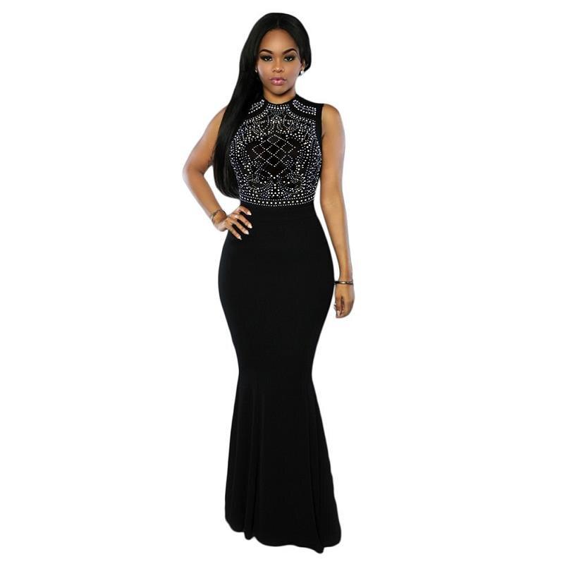 Black/Blue/Red 2017 Brand Sequined Long Dresses Women Plus Size Elegant Formal Party Dresses Ankle Length Maxi Summer Dress Robe