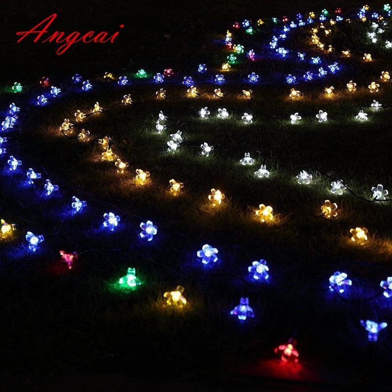 Battery Operated String Fairy Lights LED Sakura Flower Christmas Home Garland Decor