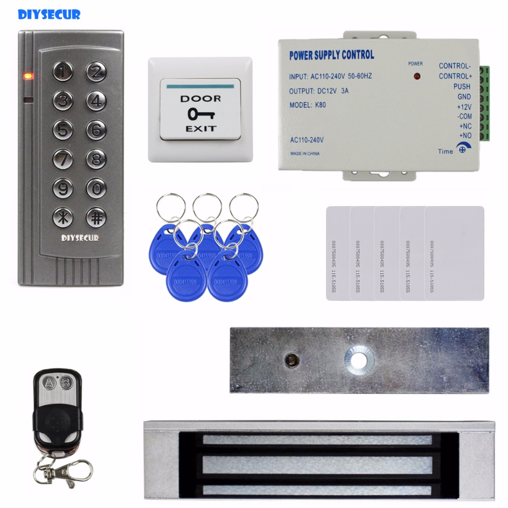 DIYSECUR Remote Control 125KHz RFID EM Reader Password Keypad Door Access Control System Kit + 180kg Electric Magnetic Lock K4 diysecur touch panel rfid reader password keypad door access control security system kit 180kg 350lb magnetic lock 8000 users