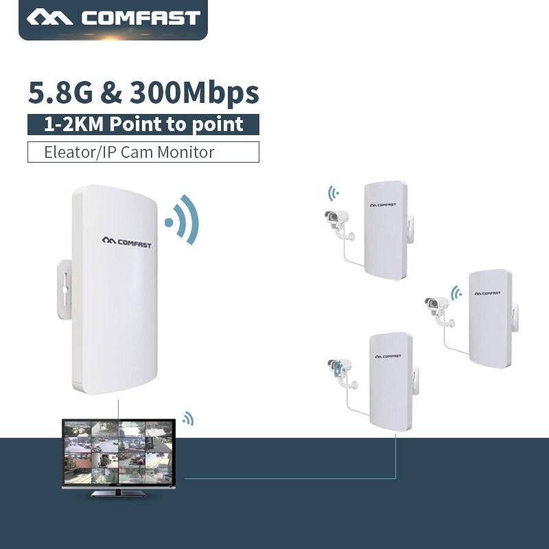 2 PC Mini sans fil CPE 300 Mbps 5.8G WIFI routeur extérieur WIFI répéteur 11dBi antenne PoE longue Distance WIFI CPE CF-E120A rapide