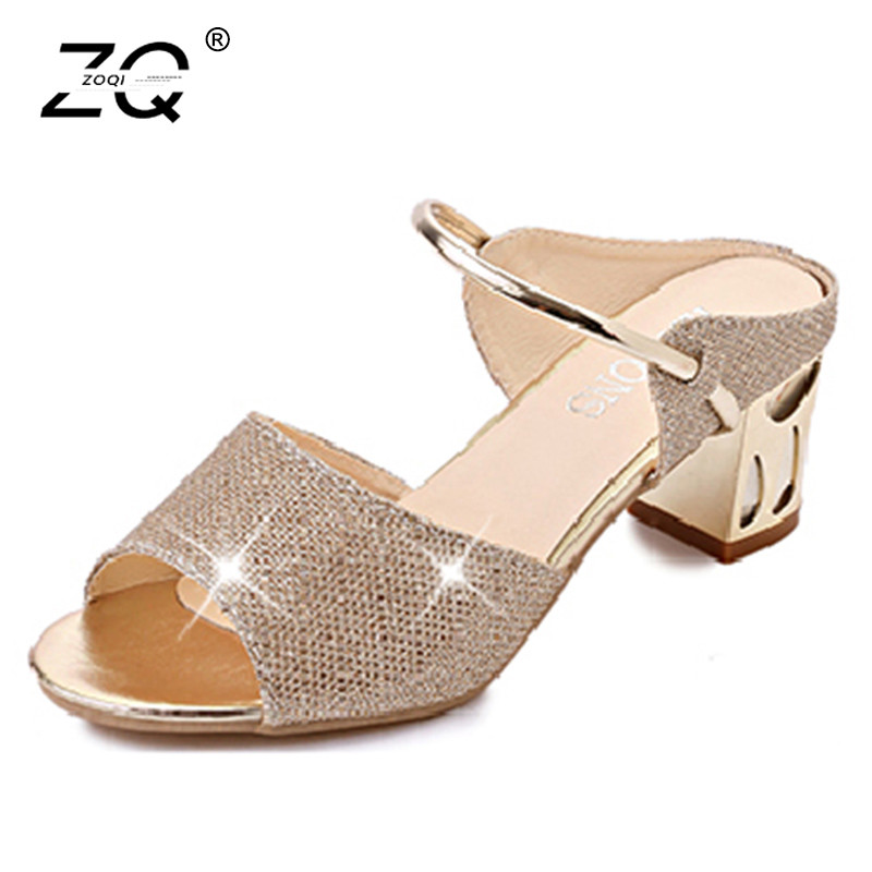 ZOQI New Fashion Slippers Women Summer 2018 Block Heels Slippers Women Shoes Open Toe Beach Slippers Slides Women Pantuflas