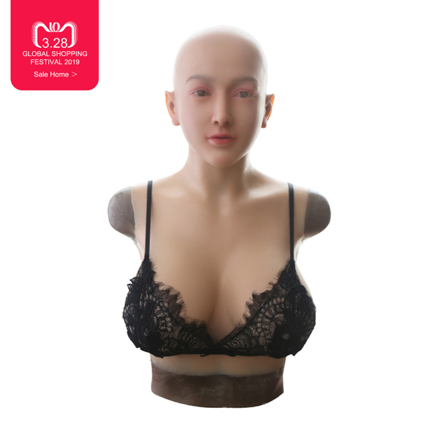 EYUNG Claire female full head mask with liquid silicone filling breast plate for crossdresser E cup