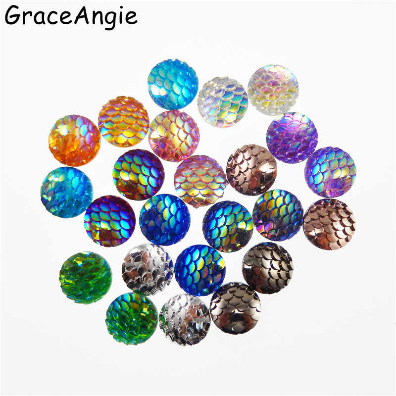GraceAngie Mixed 100pcs 8mm 12mm  Mermaid Circular Resin Dome Cameo Cabochons Resin Mix Shinny Color resin patch Jewelry Making