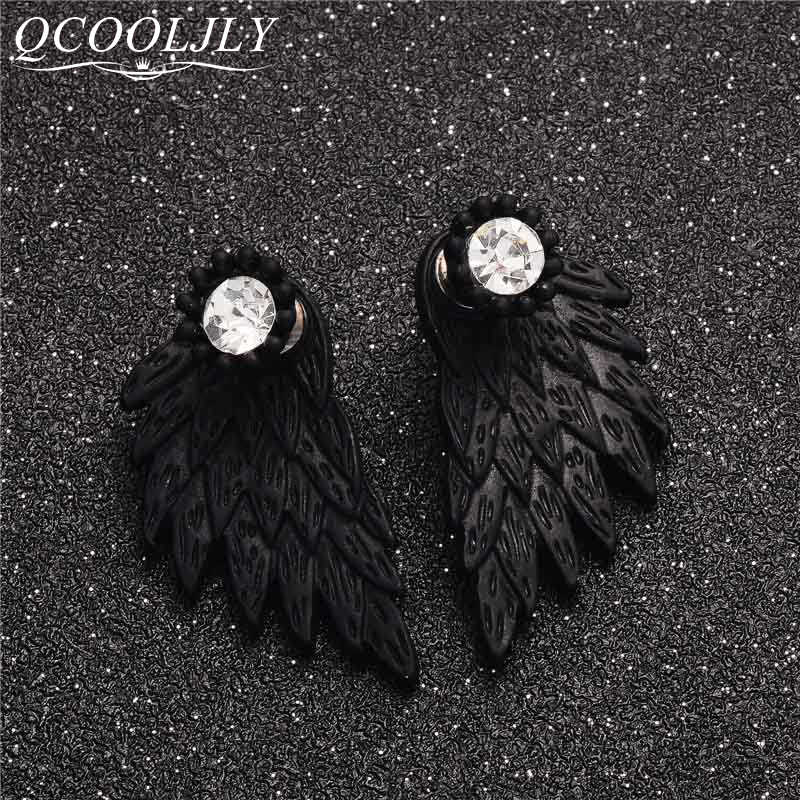 QCOOLJLY New Fashion Black Gold Silver Color Gothic Women Feather Cool Jewelry Wings Rhinestone Alloy Stud Earrings Gifts