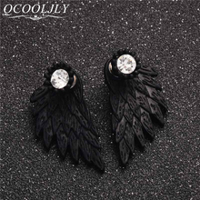 New Fashion Black Gold Silver Plated Gothic Women Cool Jewelry Angel Wings Rhinestone Alloy Stud Earrings Gifts