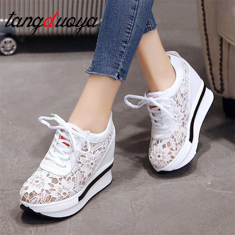 Women Shoes 2020 White Platform Wedge Sneakers High Heel Sneakers Shoes Women Casual Mesh Breathable Shoes Zapatillas Mujer