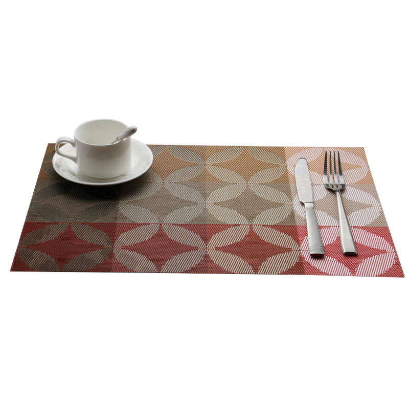 fjs1 pcs vinyl dining table place mats placemats pad weave woven effect modern 1