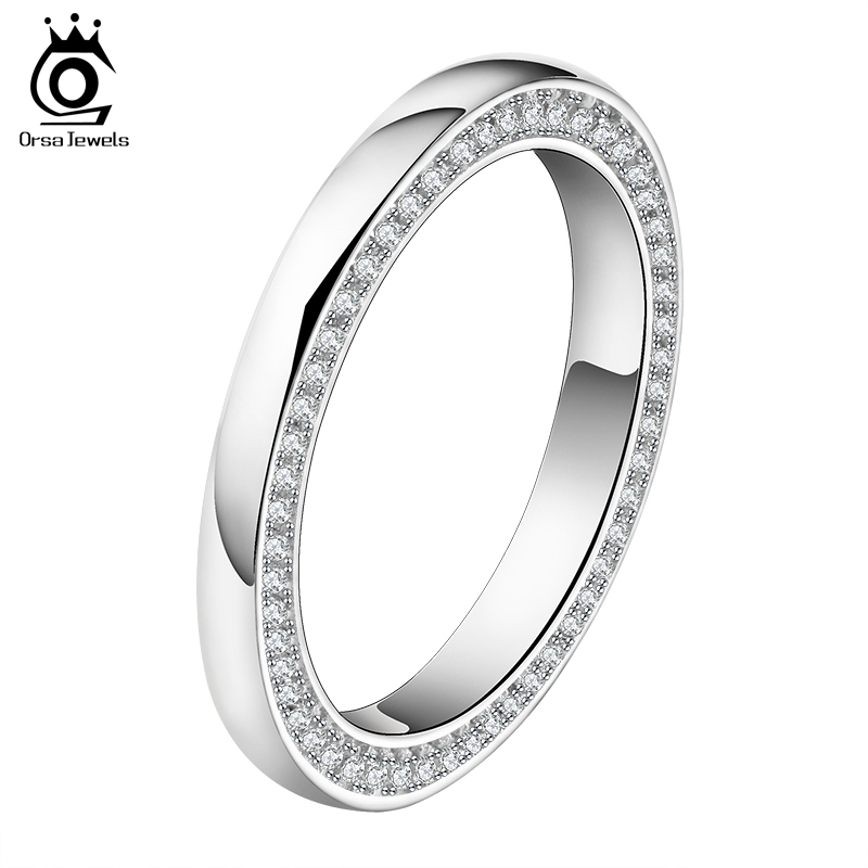 ORSA JEWELS 2017 New Arrival Luxury Brand Wedding Band With 118 Pieces AAA CZ Fashion Finger