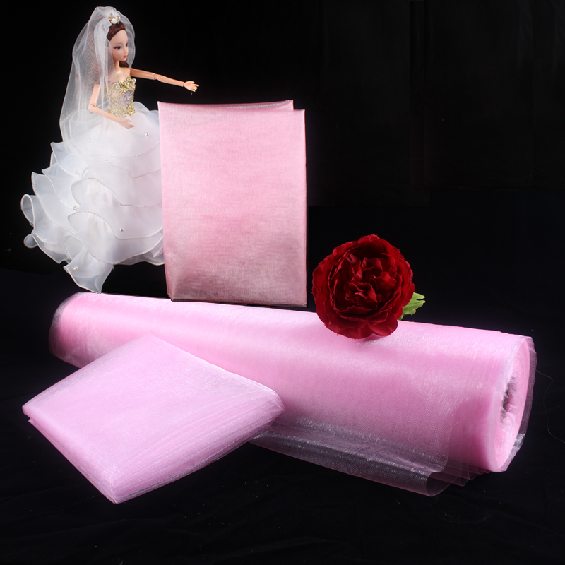 Haochu 10mx150cm Sheer Crystal Pink White Organza Tulle Roll For