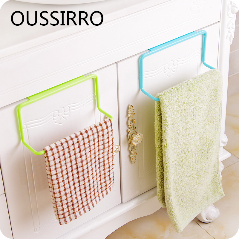 1Pcs Bathroom Towel Shelves Bathroom Kitchen Cabinet Hook Storage Rack Cabinet Door Towel Bathroom Rack Bathroom Accessories