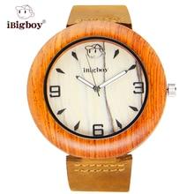 IBigboy Marca Relojes De Madera de Hoy Trato Padauk Zebrawood IB-1604Ha Cuarzo Reloj de pulsera de Cuero
