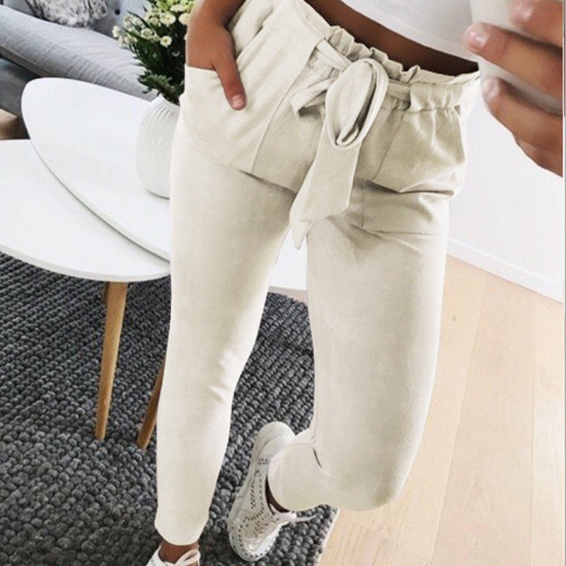 2019 Women Sexy arrival Striped Slim Skinny Casual High Waist Pencil Long Pants Trousers Flat Drawstring Bodycon Solid Pants 21