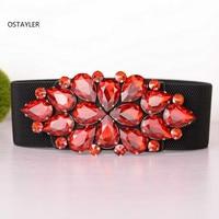 SHining Crystal Glass Red Rhinestone WOmen Dress Belts High Elastic Waist Belts European Ladies Luxury Cummerbund