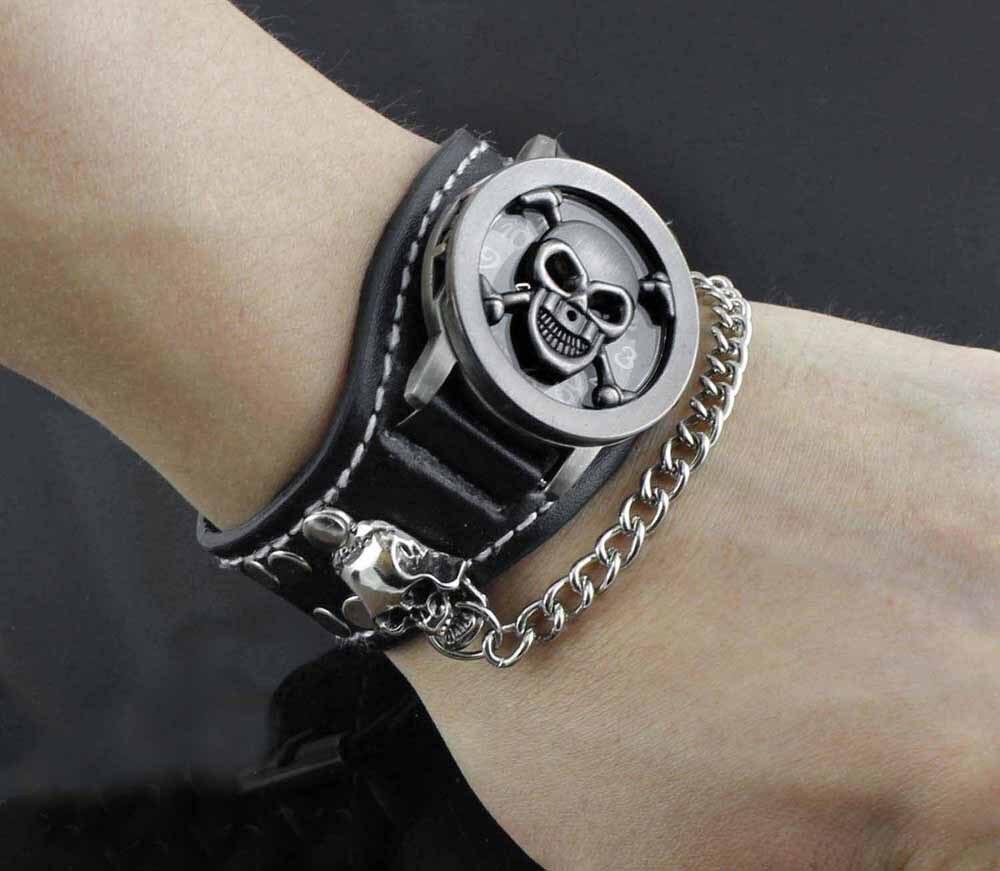 aliexpress com buy men s punk biker rock skull chain leather aliexpress com buy men s punk biker rock skull chain leather bracelet watch wristwatch from reliable bracelet watches ladies suppliers on biker jewelry