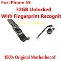 Para iphone 5s mainboard 32 gb versão desbloqueado motherboard com touch id de alta qualidade 100% original oficial para o ouro e prata