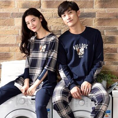 Couple   pajamas     set   100% cotton   pajamas   plaid   pajamas   spring autumn men and women long sleeve sleepwear lover night suits