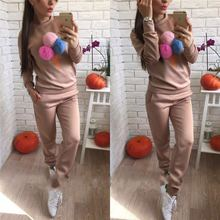 women two piece outfits fashion woman sport set pullover long sleeve o-neck cartoon top full pants female matching sets