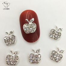 LEAMX 10 PCS/bag Glitter Apple Nails Art Decorations Silver Metal Rhinestone 3D Charm Nail Jewelry Shining Decor L434