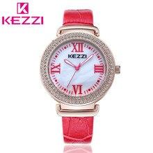 2016 KEZZI Oficial Autorizar K1270 Moda Mujeres Rhinestone Reloj de pulsera de Lujo Reloj de Cuarzo Relogio Feminino 1707 Regalo de Las Mujeres